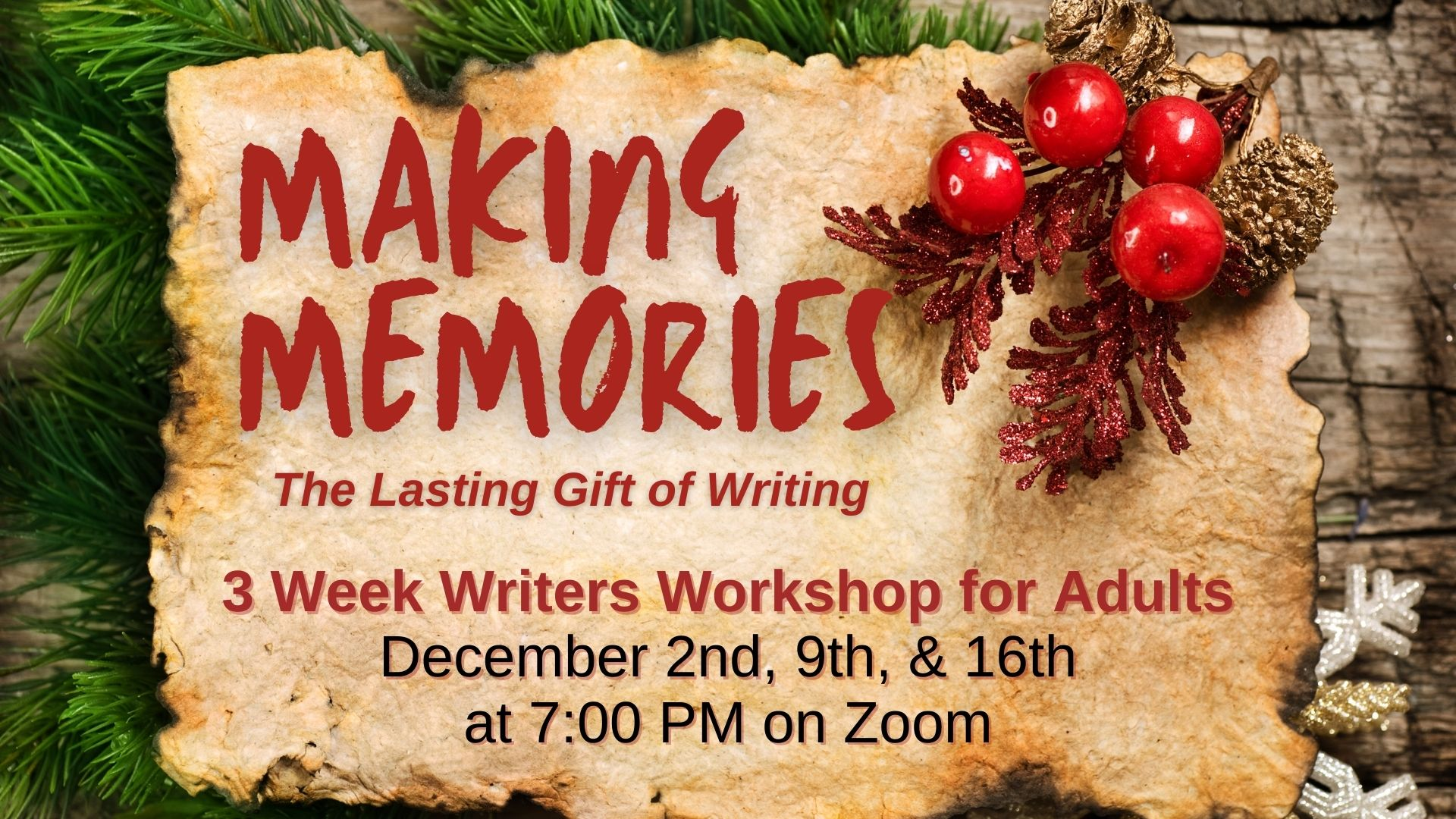 Making Memories writers workshops